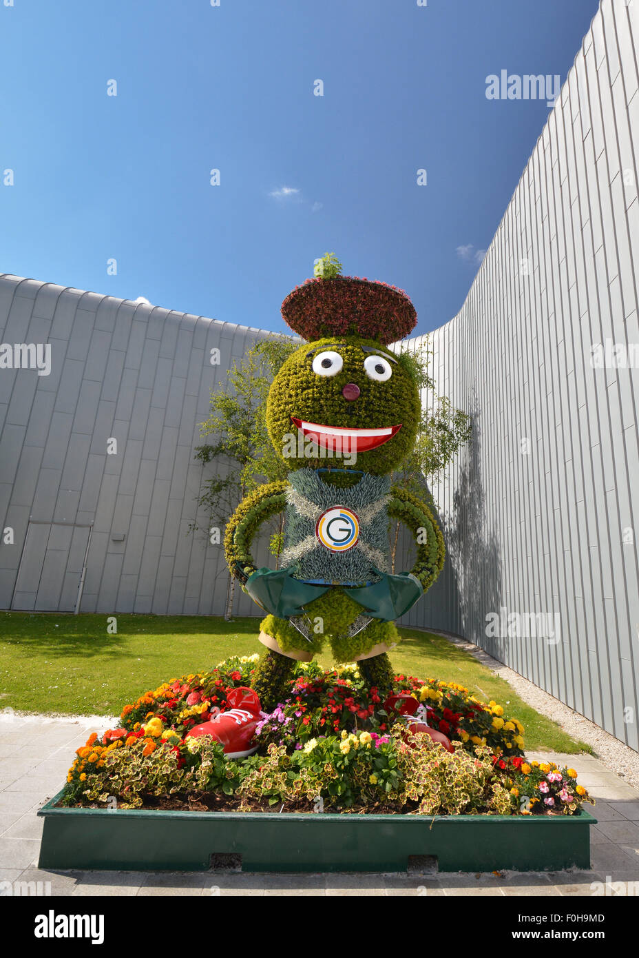 Floral Clyde Commonwealth Games mascot outside the Riverside Museum in Glasgow - part of the Clyde Trail - Stock Image