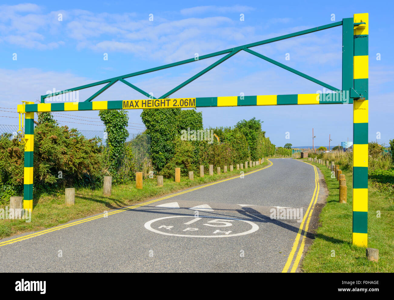2.06m Maximum height restriction barrier at the entrance to the West Beach car park in Littlehampton, West Sussex, - Stock Image