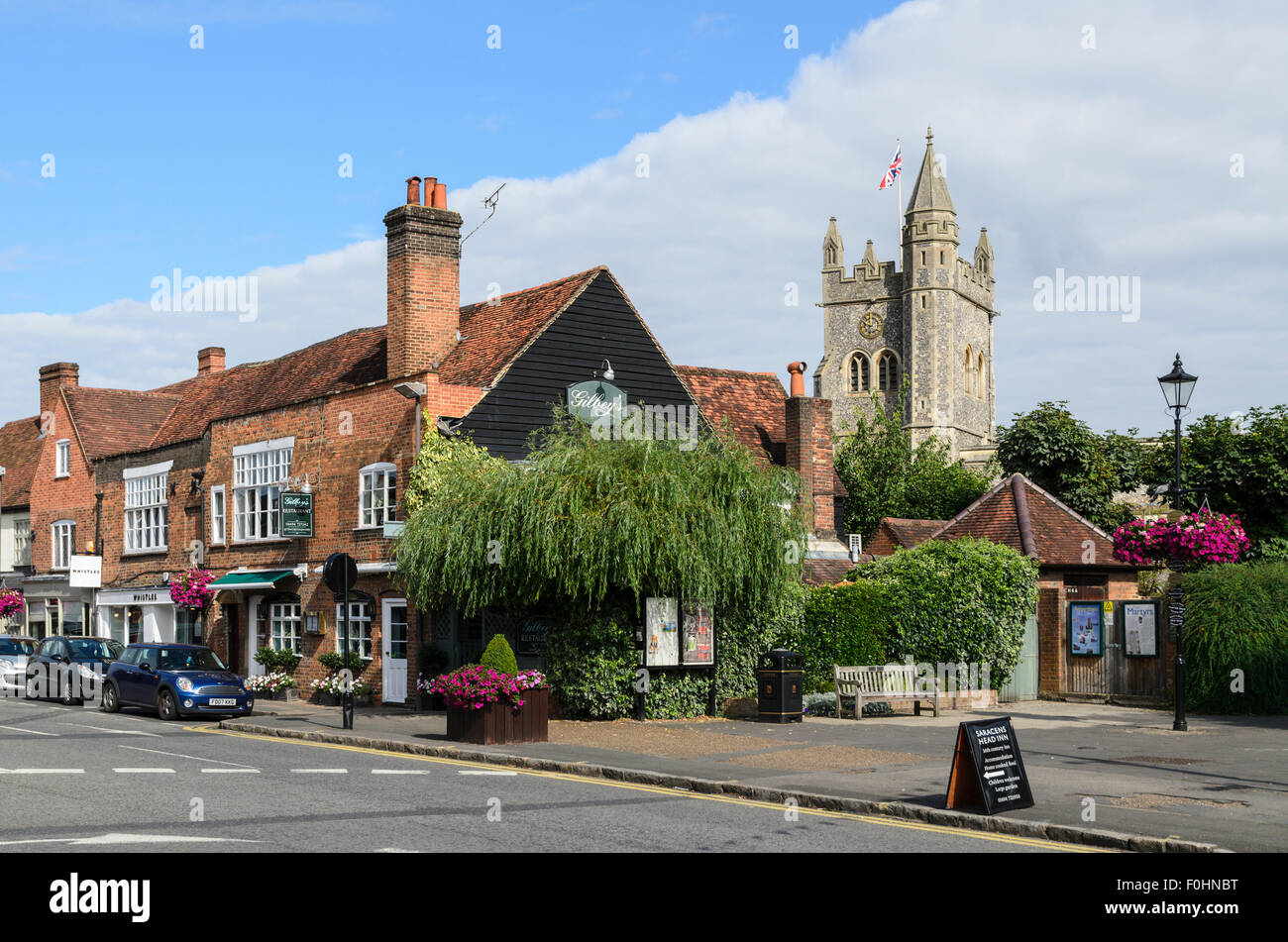 A view of Old Amersham with St Marys Church in the background. Old Amersham, Buckinghamshire, England, UK - Stock Image