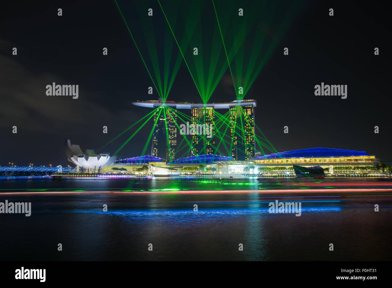 Laser show of Singapore Marina Bay, Singapore - Stock Image
