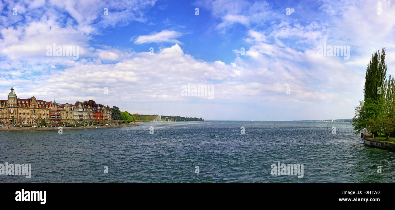 Panoramic View Of Bodensee Lake And Konstanz City Germany The