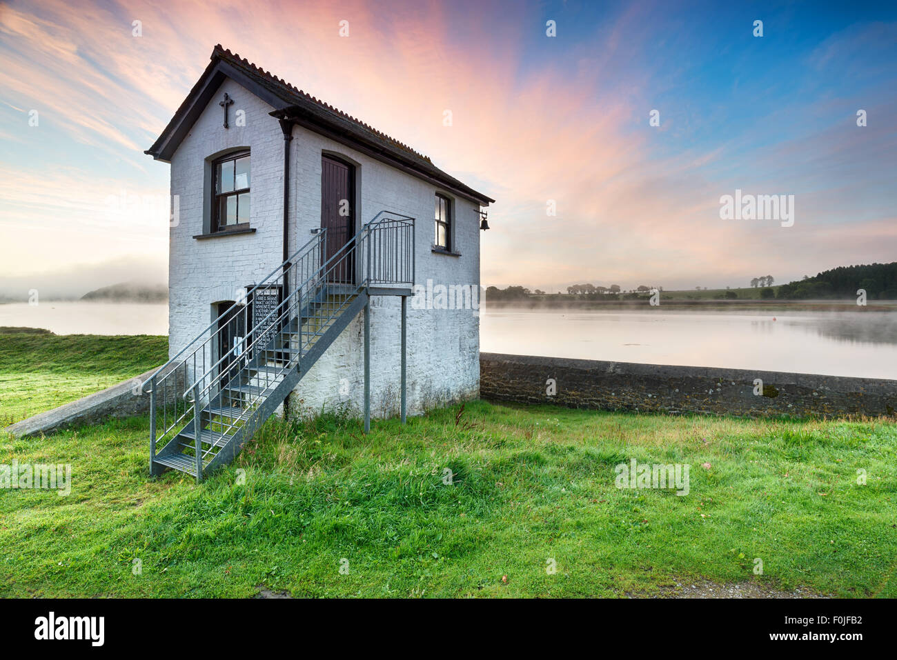 An old chapel at Halton Quay on the banks of the river Tamar near St Mellion in Cornwall, looking out to Devon across - Stock Image