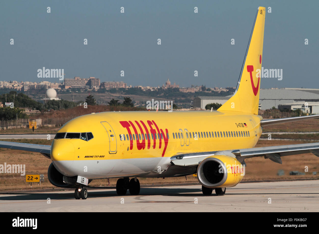TUIfly Boeing 737-800 passenger jet plane taxiing for departure from Malta - Stock Image