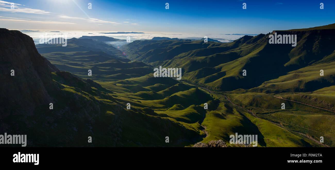 View from Sani Pass to Drakensberg range, Africa - Stock Image