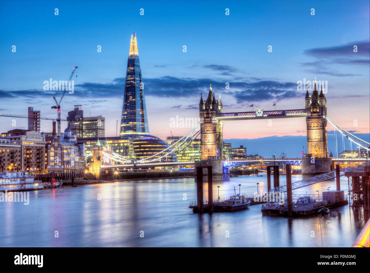 Tower Bridge,  the Shard ad the borough of Southwark/Bermondsey in London on a summer evening - Stock Image