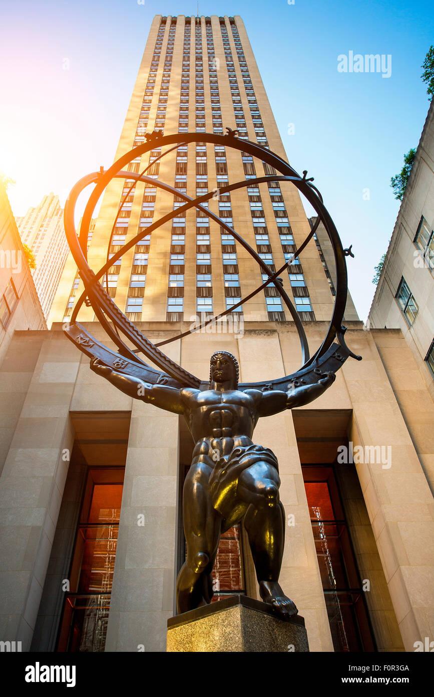Atlas sculpture at the Rockefeller Center in New York city - Stock Image