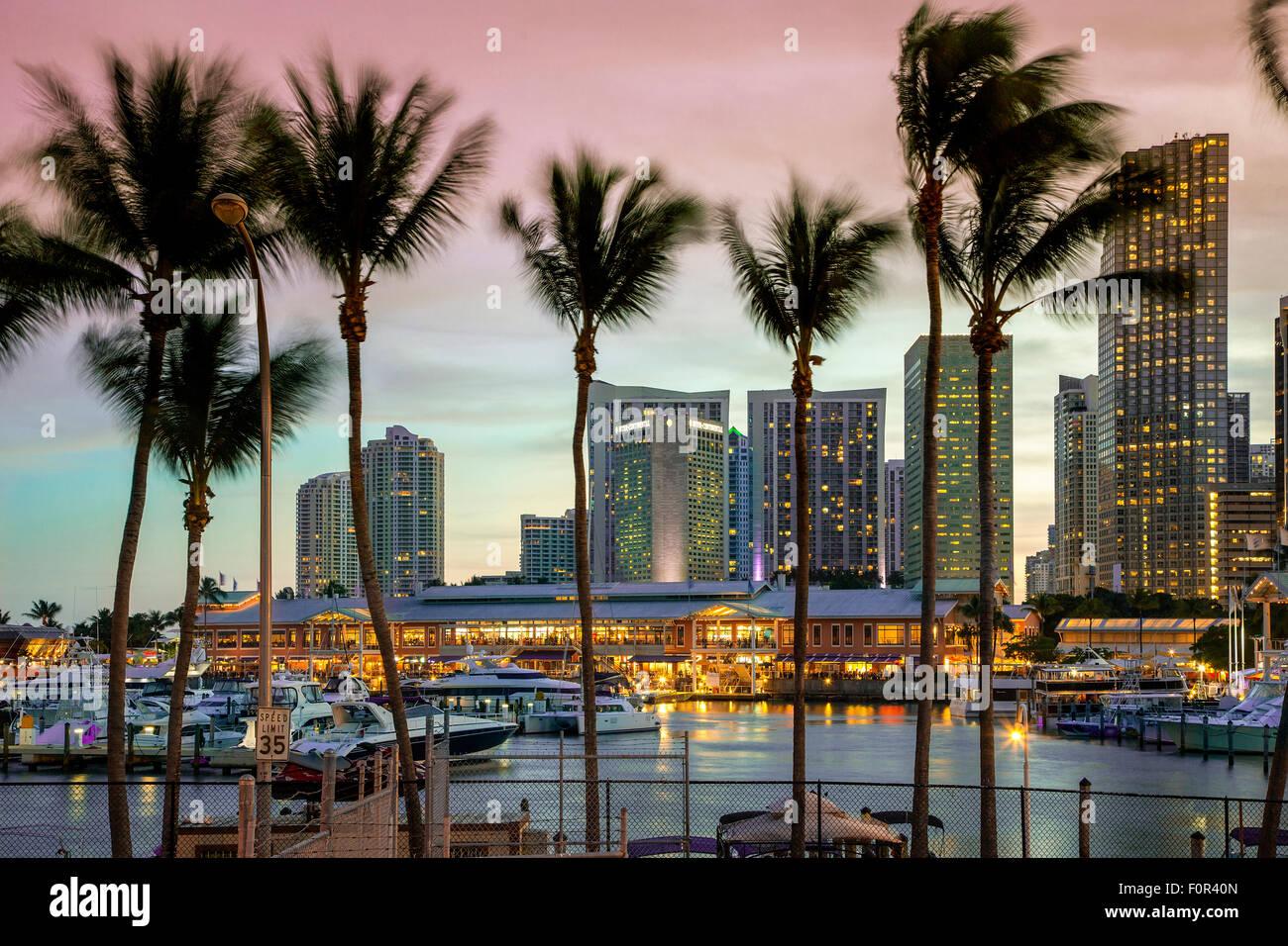 Miami, Bayside Mall at Dusk - Stock Image