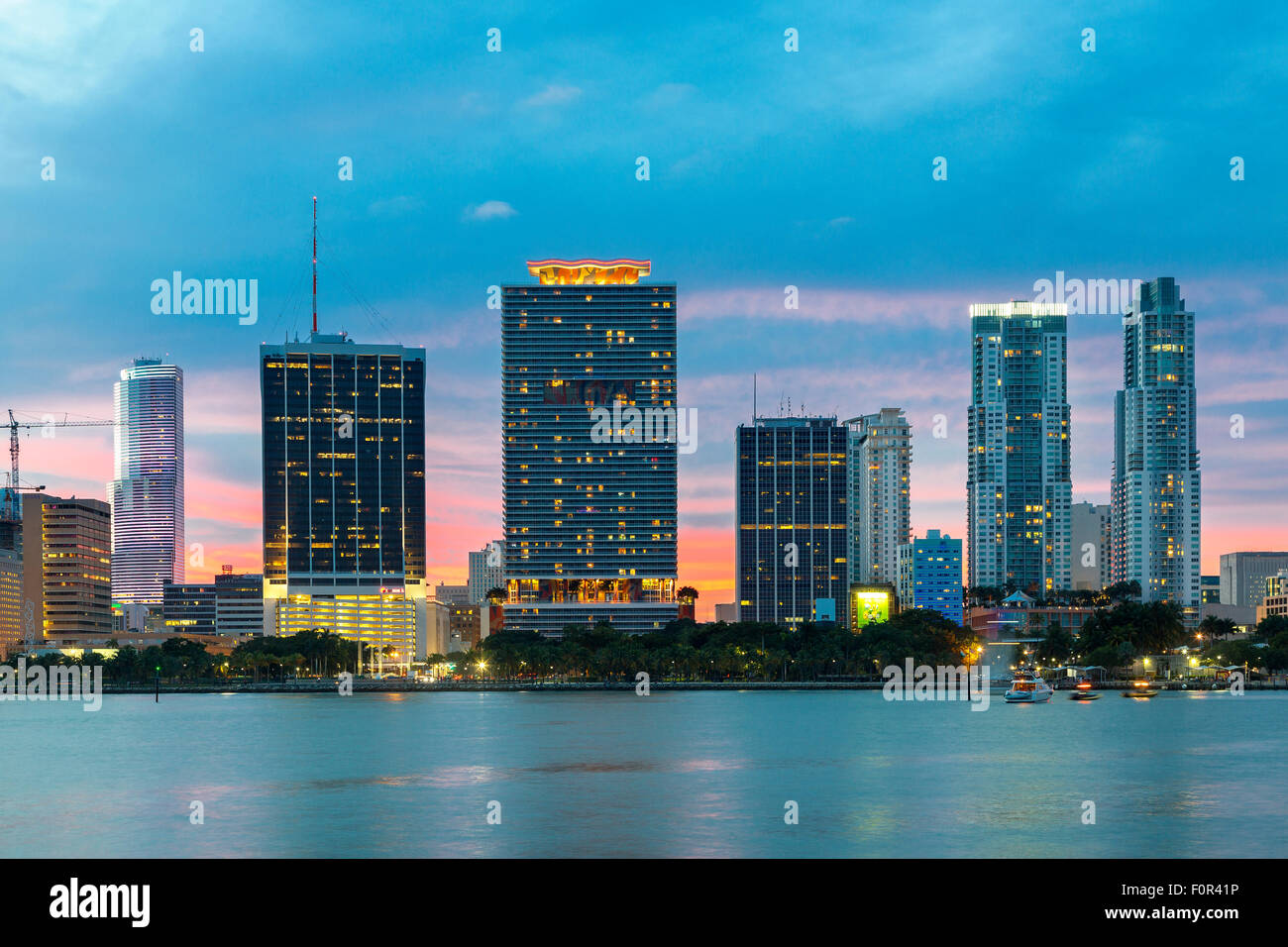 Florida, Miami Skyline at sunset - Stock Image