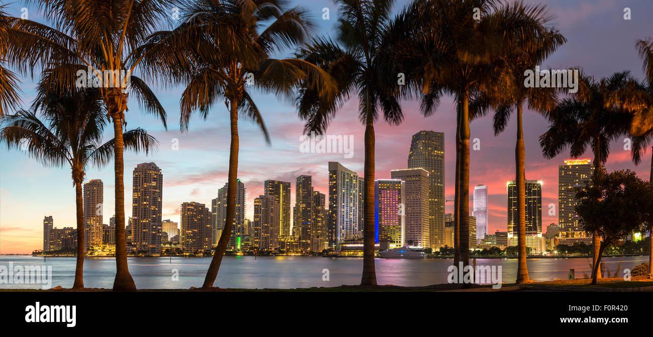 Florida, Miami Skyline at Dusk - Stock Image