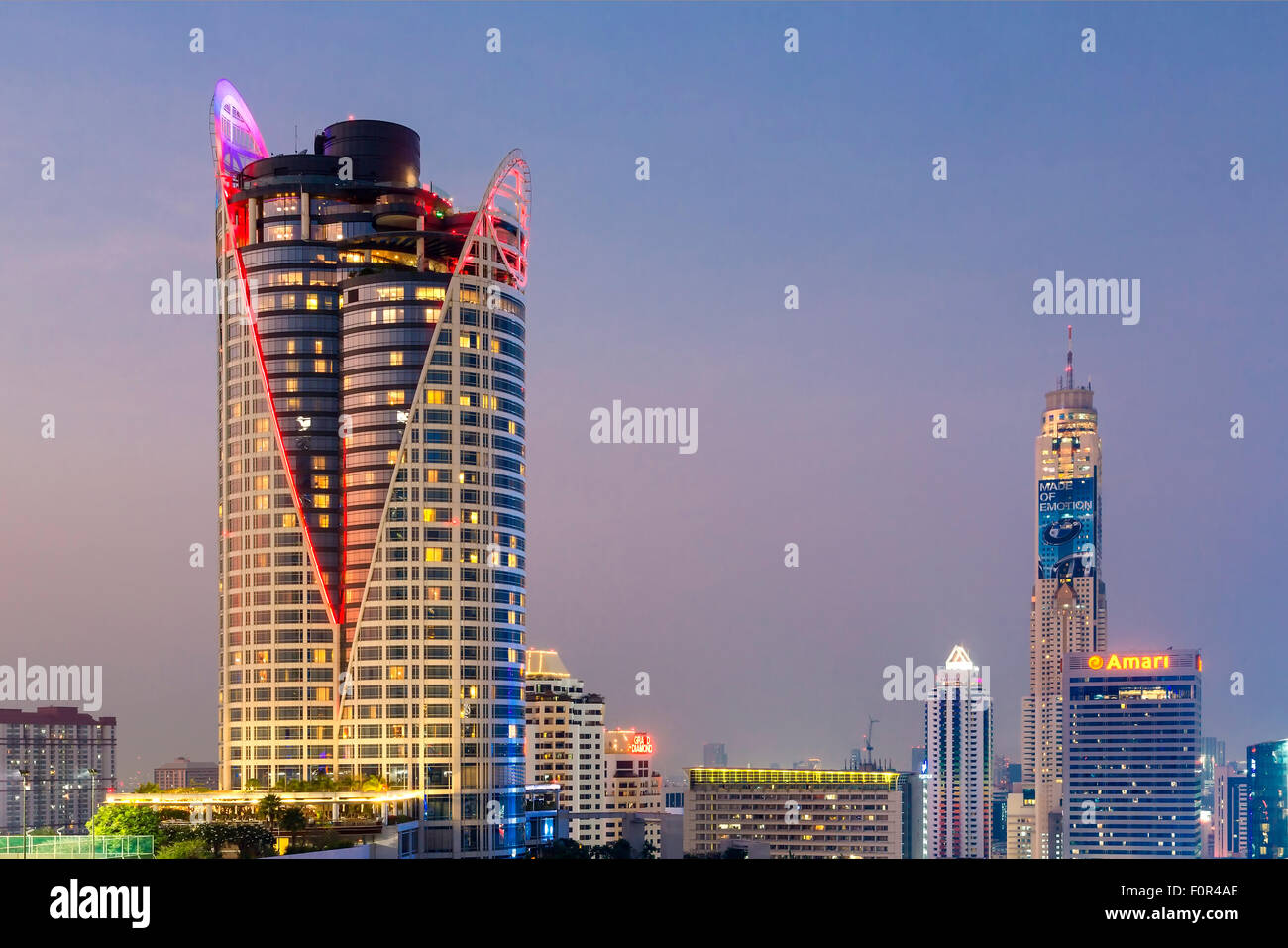 Bangkok Skyline with Centara Grand Tower and Baiyoke sky Hotel - Stock Image