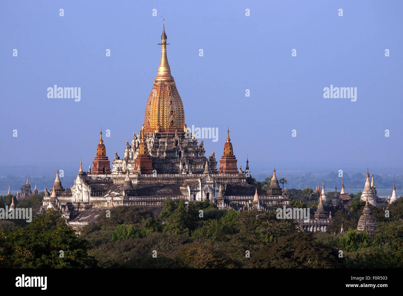 Views of the Ananda Temple, pagodas field, Bagan, Mandalay Division, Myanmar - Stock Image