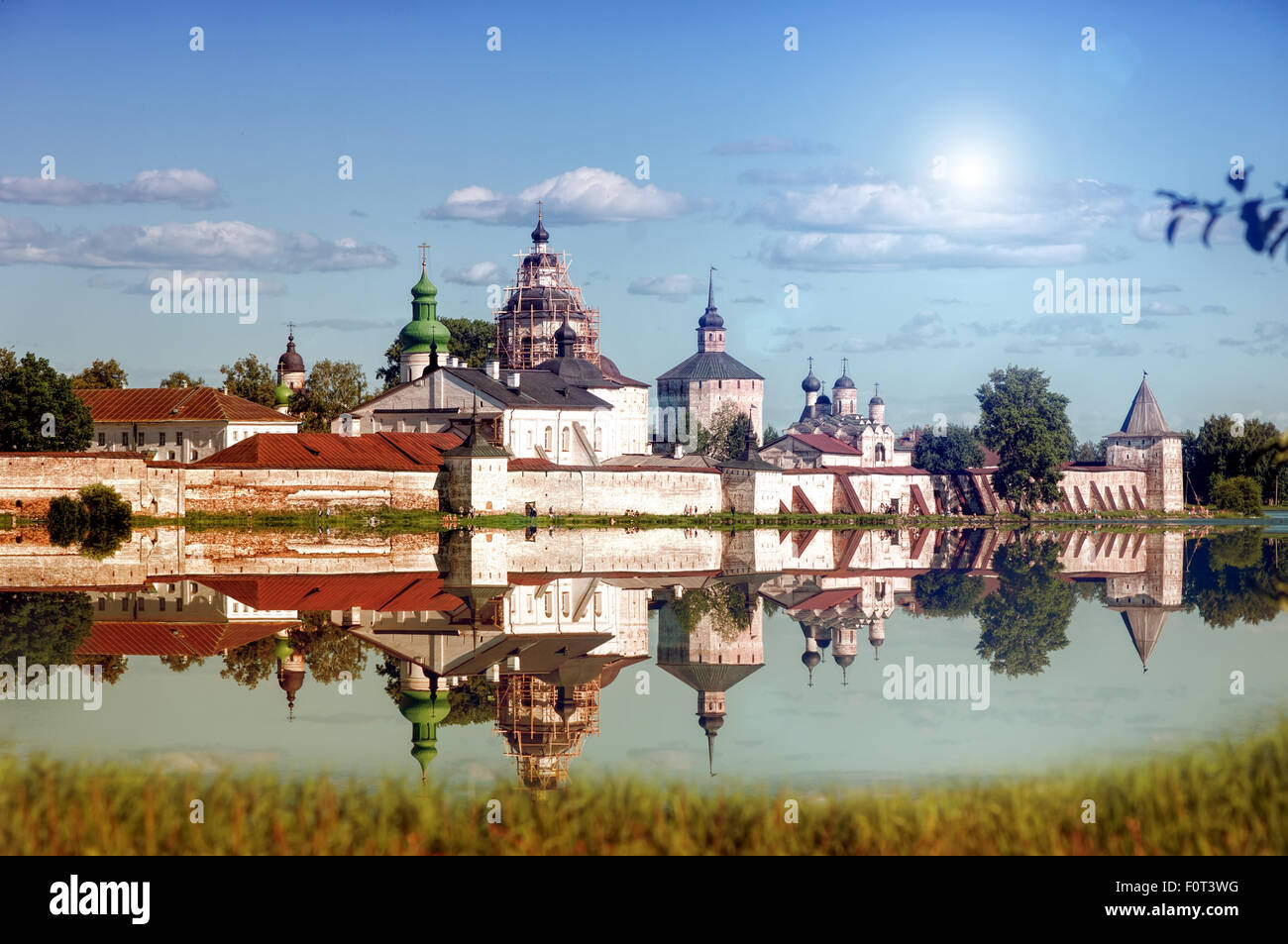 lakeside wall and tower of Kirillo-Belozersk Monastery - Stock Image