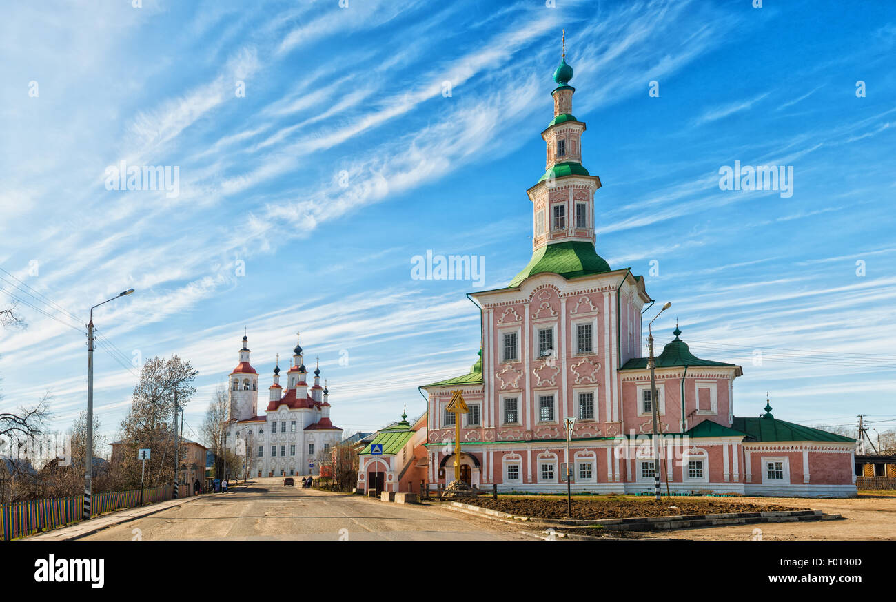 Church City Tot'ma a clear sunny day. Vologda region. Russia - Stock Image