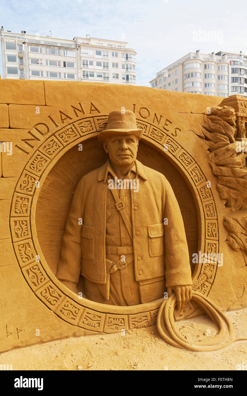 Harrison Ford as Indiana Jones, sand sculpture, Sand Sculpture Festival Frozen Summer Sun, Oostende, West Flanders, - Stock Image