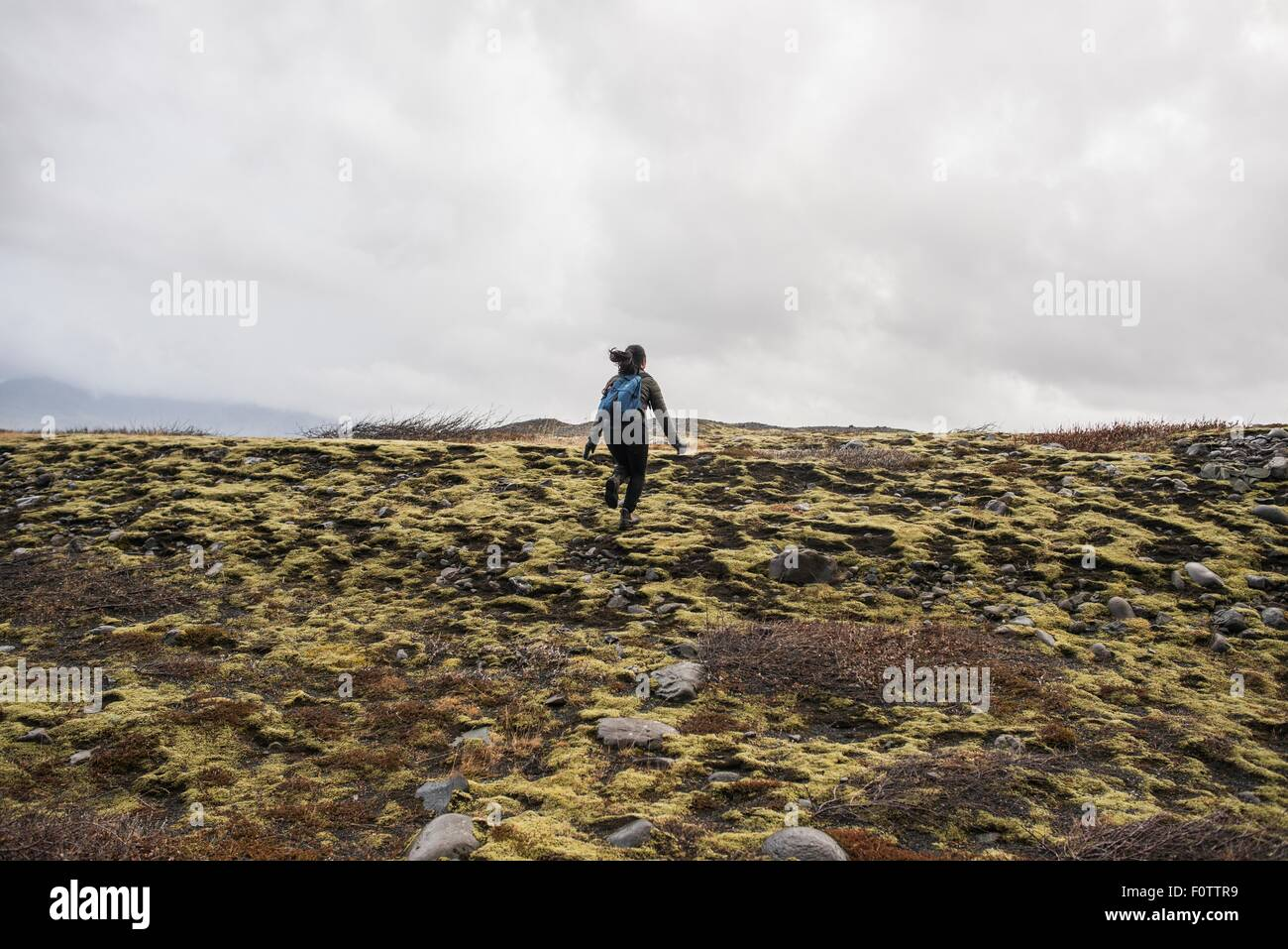 Rear view of female tourist running across moorland,  Skaftafell, Iceland - Stock Image