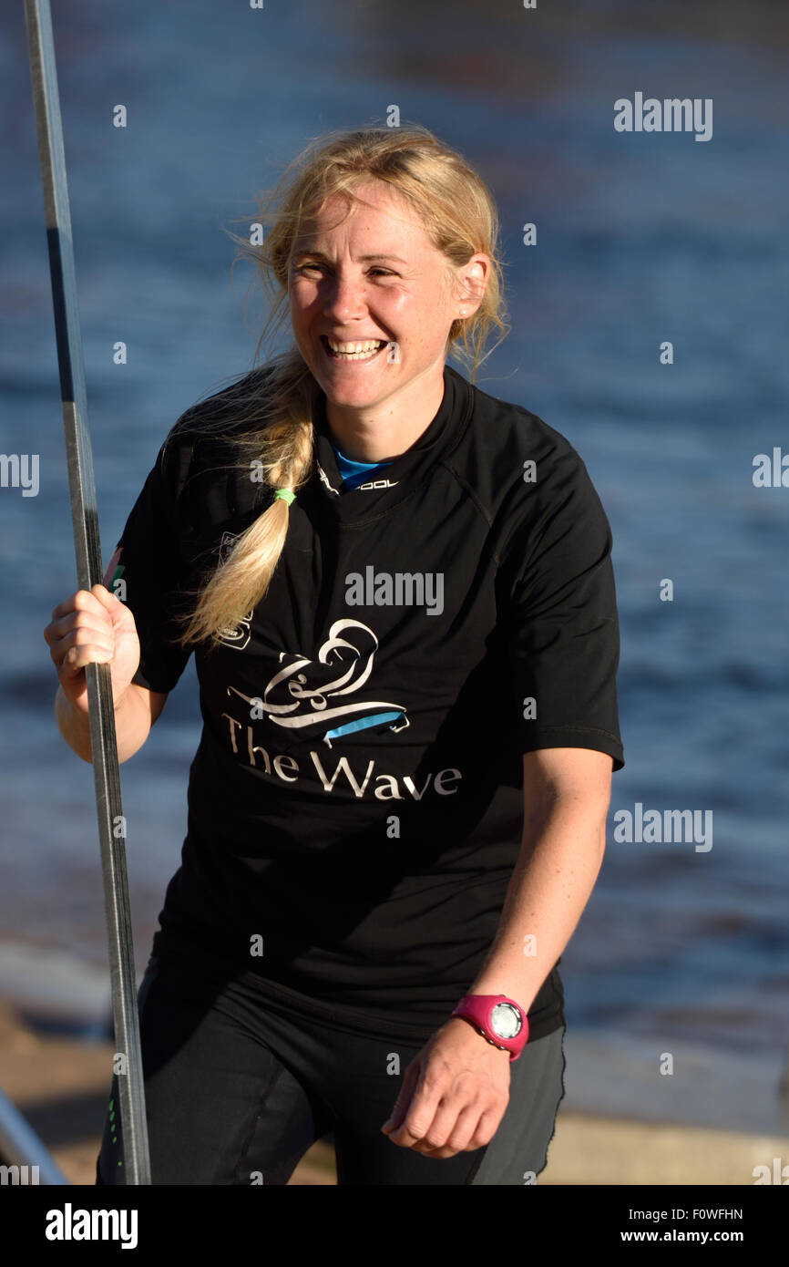 St. Petersburg, Russia, 21st August, 2015. Two-time British Olympic gold medalist Sarah Ayton from The Wave, Muscat Stock Photo