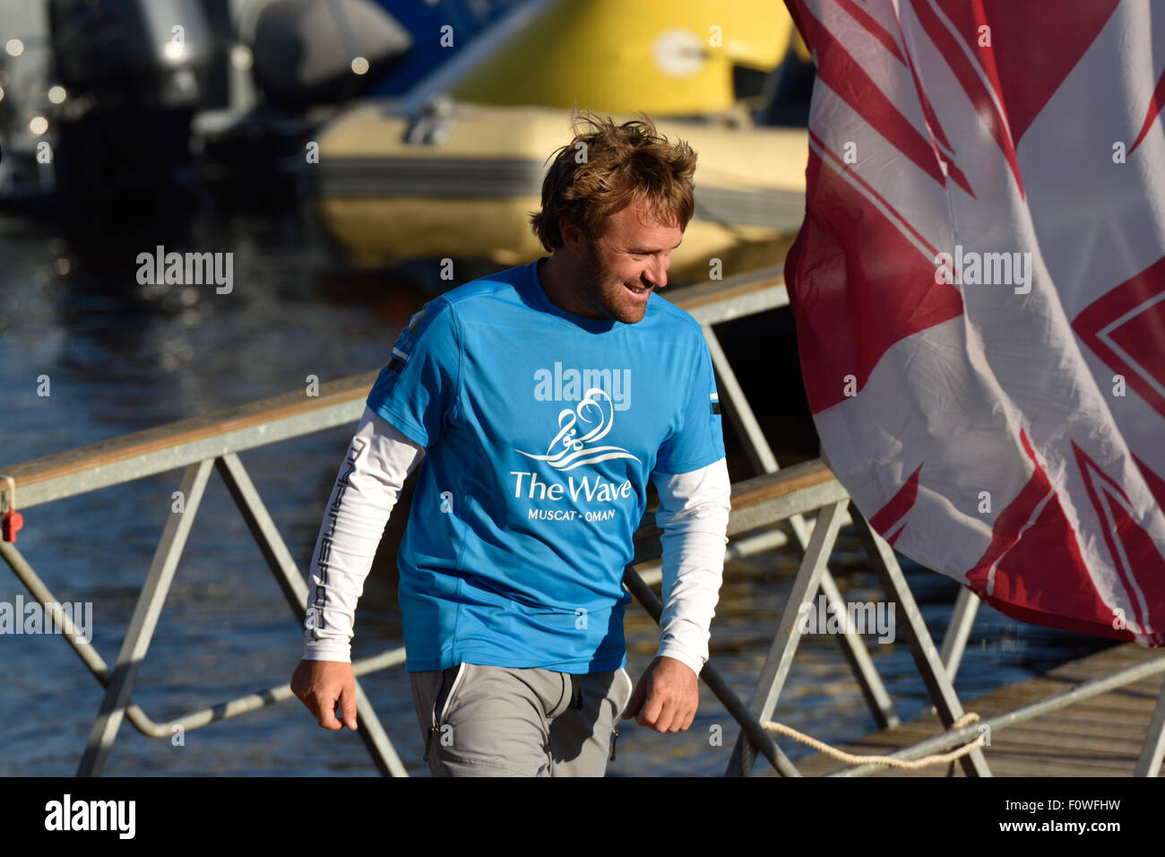 St. Petersburg, Russia, 21st August, 2015. Skipper of The Wave, Muscat sailing team Leigh McMillan from United Kingdom Stock Photo