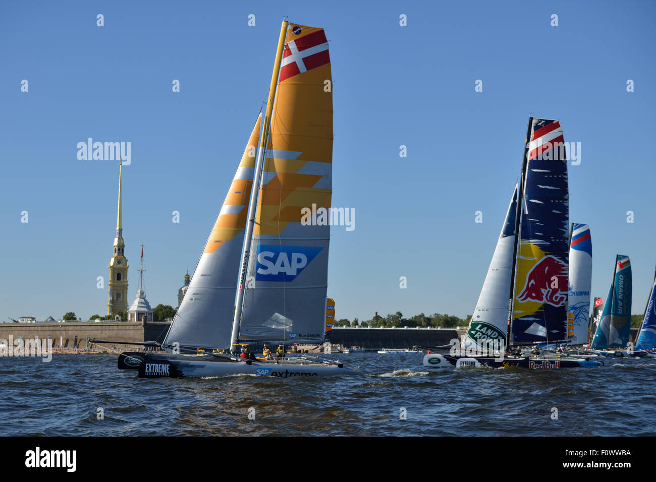 St. Petersburg, Russia, 21st August, 2015. Extreme 40 catamarans compete during the 2nd day of St. Petersburg stage Stock Photo