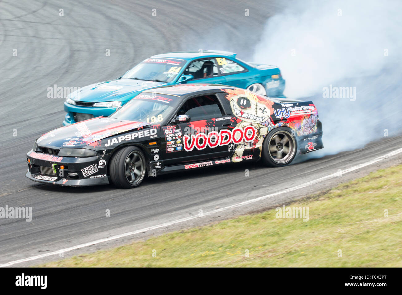 British Drift Championship Teesside Autodrome 2015 Team Voodoo 198 Mike Lardner, TeamSuperDrift 154 Neil Bamford - Stock Image