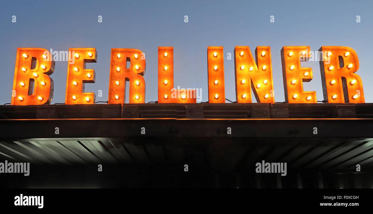 Beer,ale,pils,pilsner,advert,advertise,advertisement,German,Germany,brew,capital,city,break,tourist,tourism,travel,culture,euro,europe,european,germans,serving,signage,pub,Silverstone,Woodlands,trip,journey,vacation,holiday,weisse,Berlinar,letters,orange,tungsten,lighting,berliner pilsner,GoTonySmith,blue,sky,AreYouBerliner,Buy Pictures of,Buy Images Of,Are You Berliner,Are You Berliner?