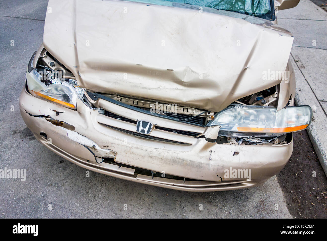Front part of a crashed car - Stock Image