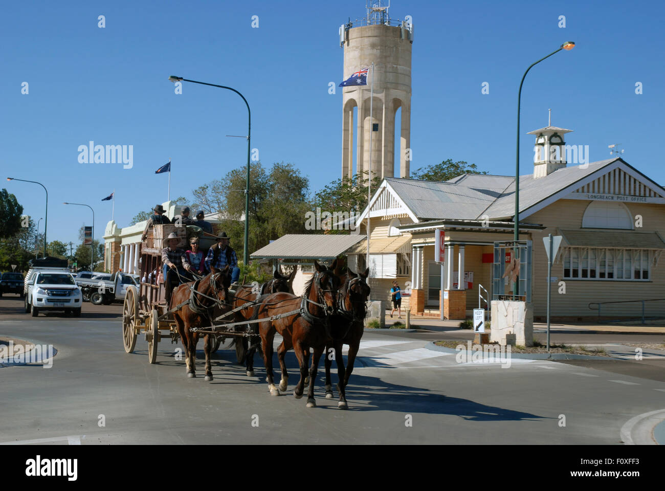 Tourists on a horse drawn carriage, stage coach, Longreach, Queensland Outback, Australia Stock Photo