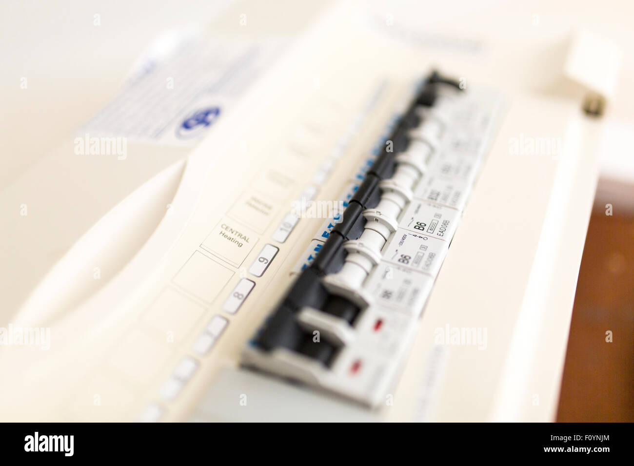an electricity fuse box - Stock Image