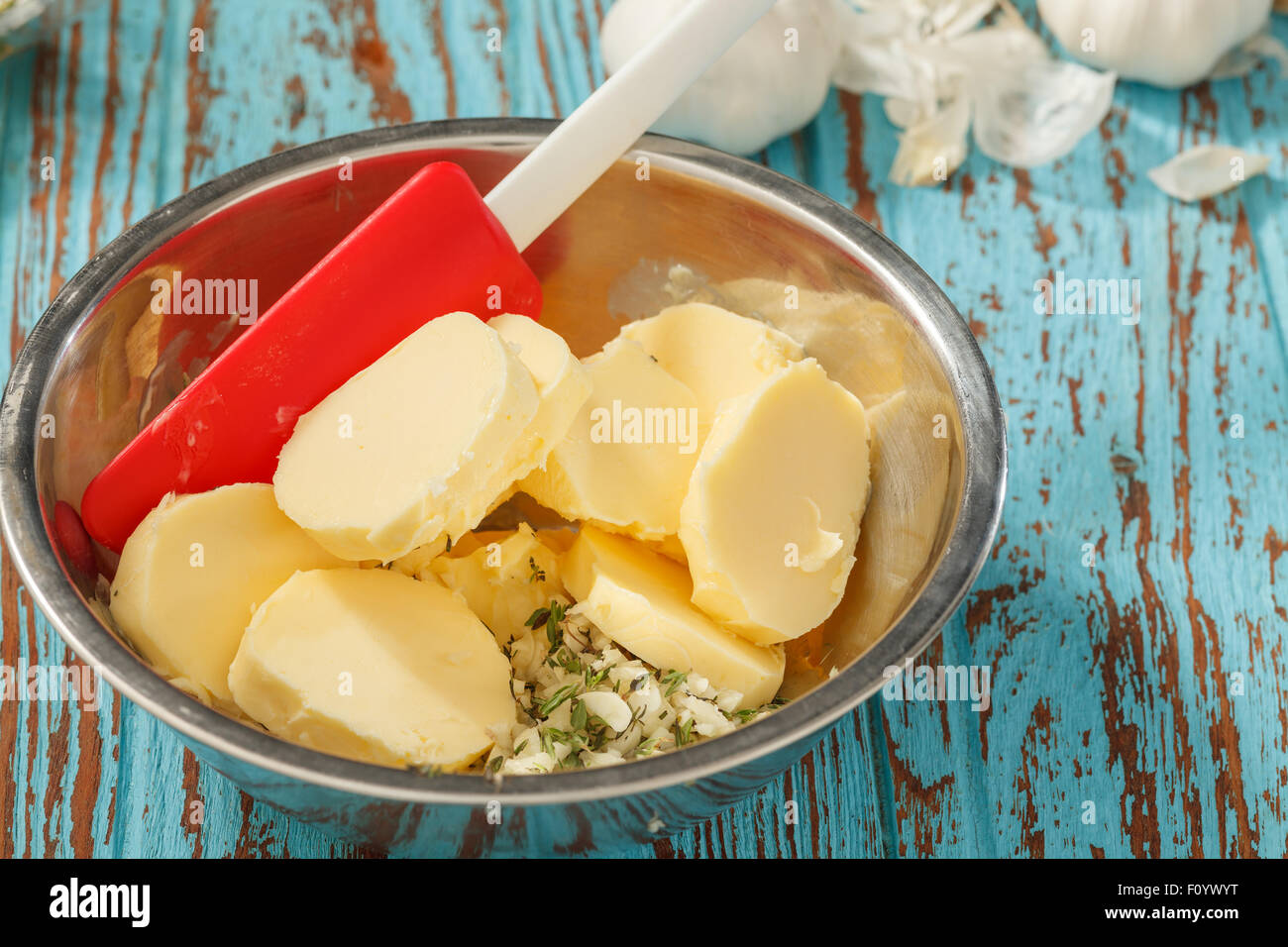 compound butter ingredients herb coriander garlic lemon fresh green onion homemade italian food tasty - Stock Image