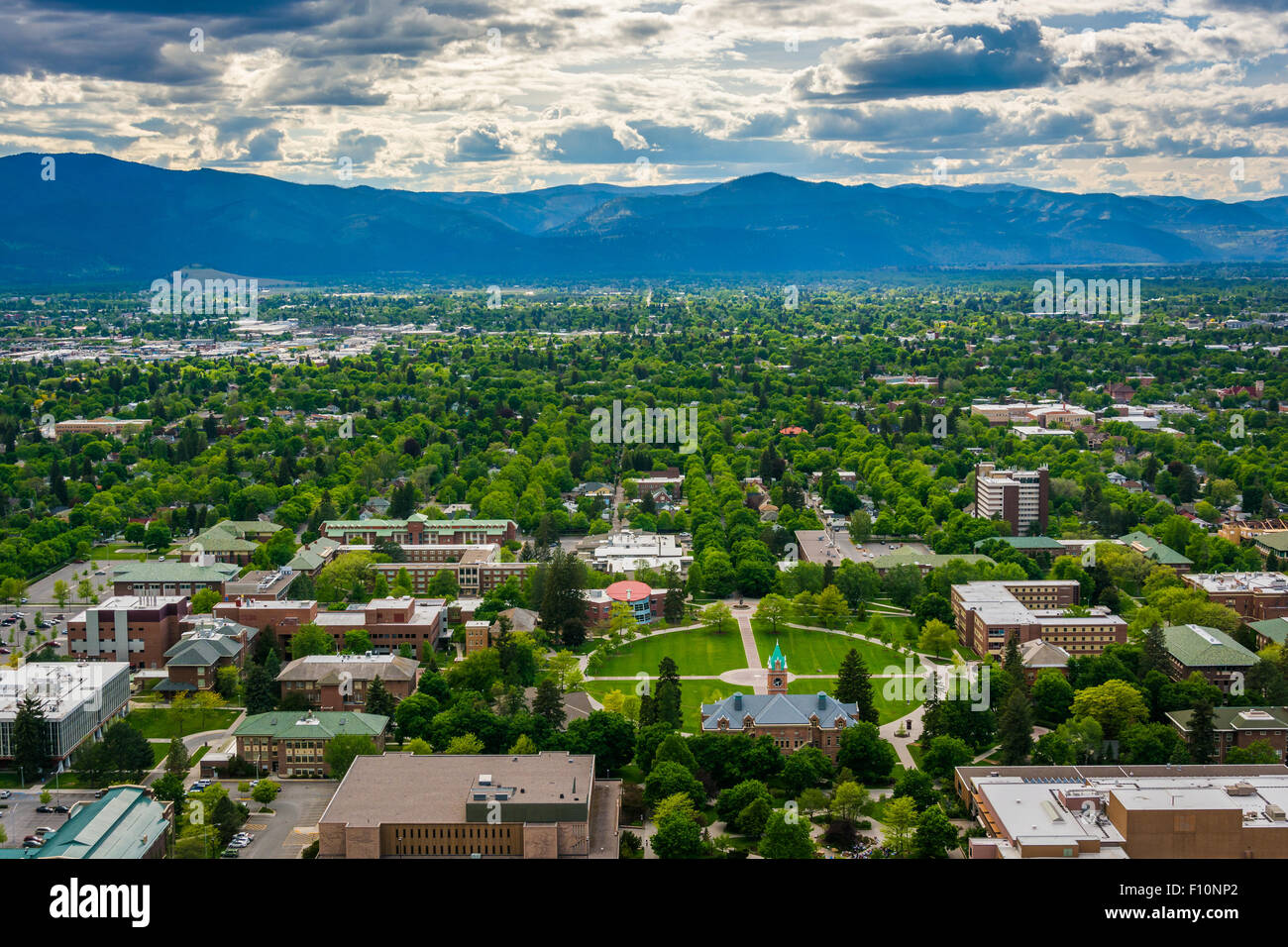 View of University of Montana from Mount Sentinel, in Missoula, Montana. Stock Photo