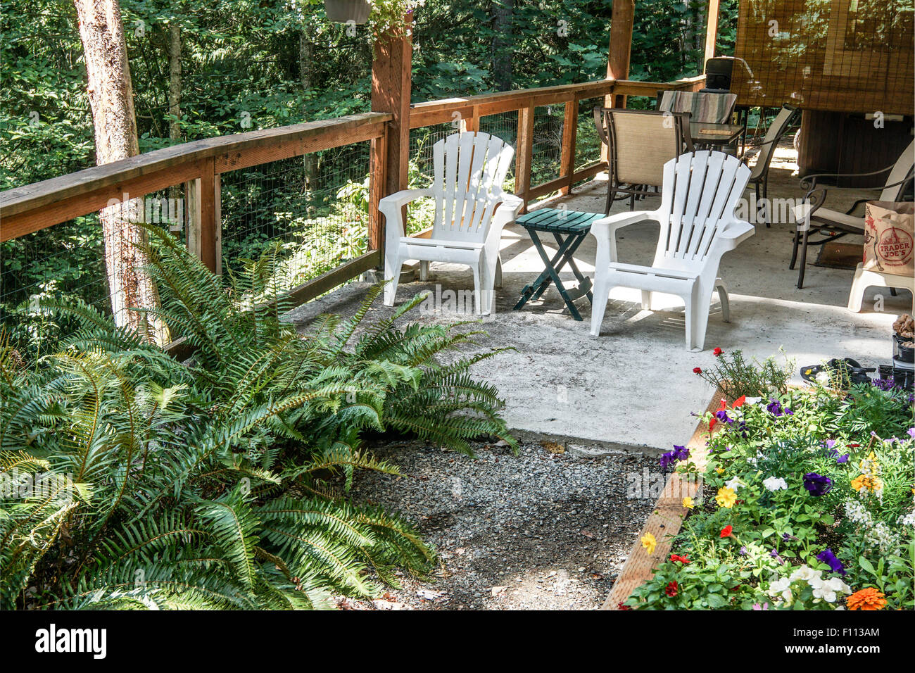 Casual Summer Scene Of The Good Life On Rustic Patio Surrounded By Trees  With Adirondack Chairs Lush Ferns U0026 Pretty Flower Bed