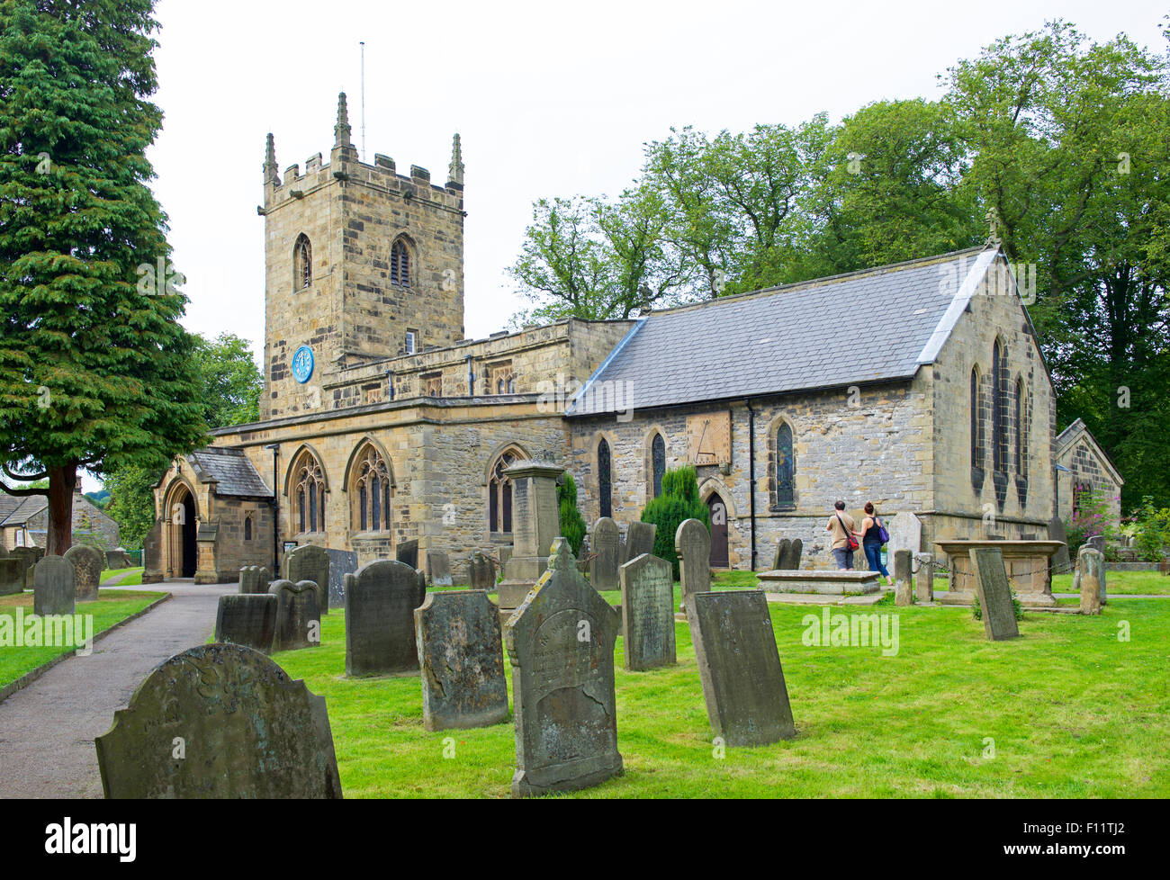 St Lawrence's Church, in the village of Eyam, Peak National Park, Derbyshire, England UK Stock Photo