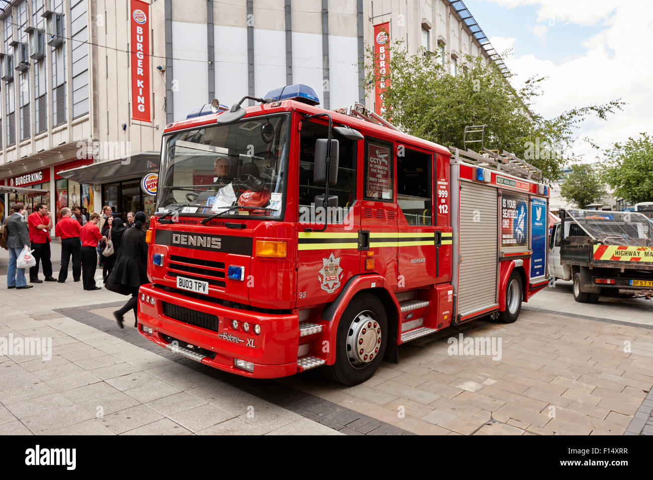 west midlands fire service dennis engine on call in Birmingham city centre UK - Stock Image