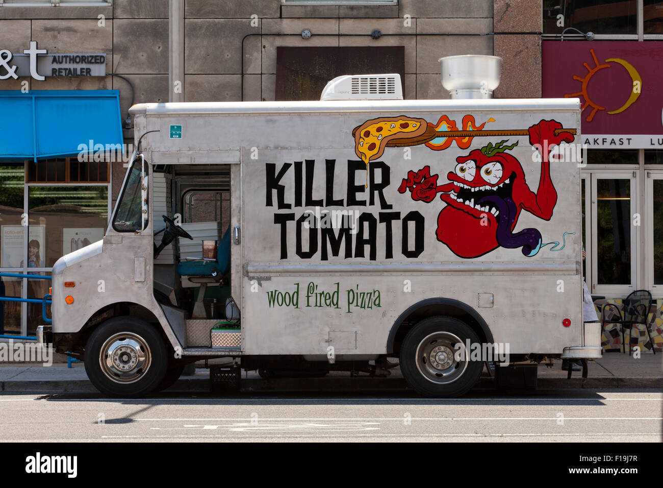 Pizza food truck - USA - Stock Image