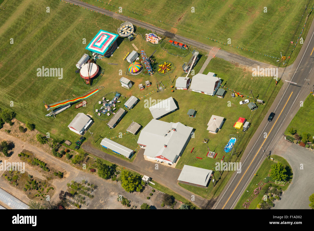 Aerial View Of Traveling Carnival, New Jersey USA - Stock Image