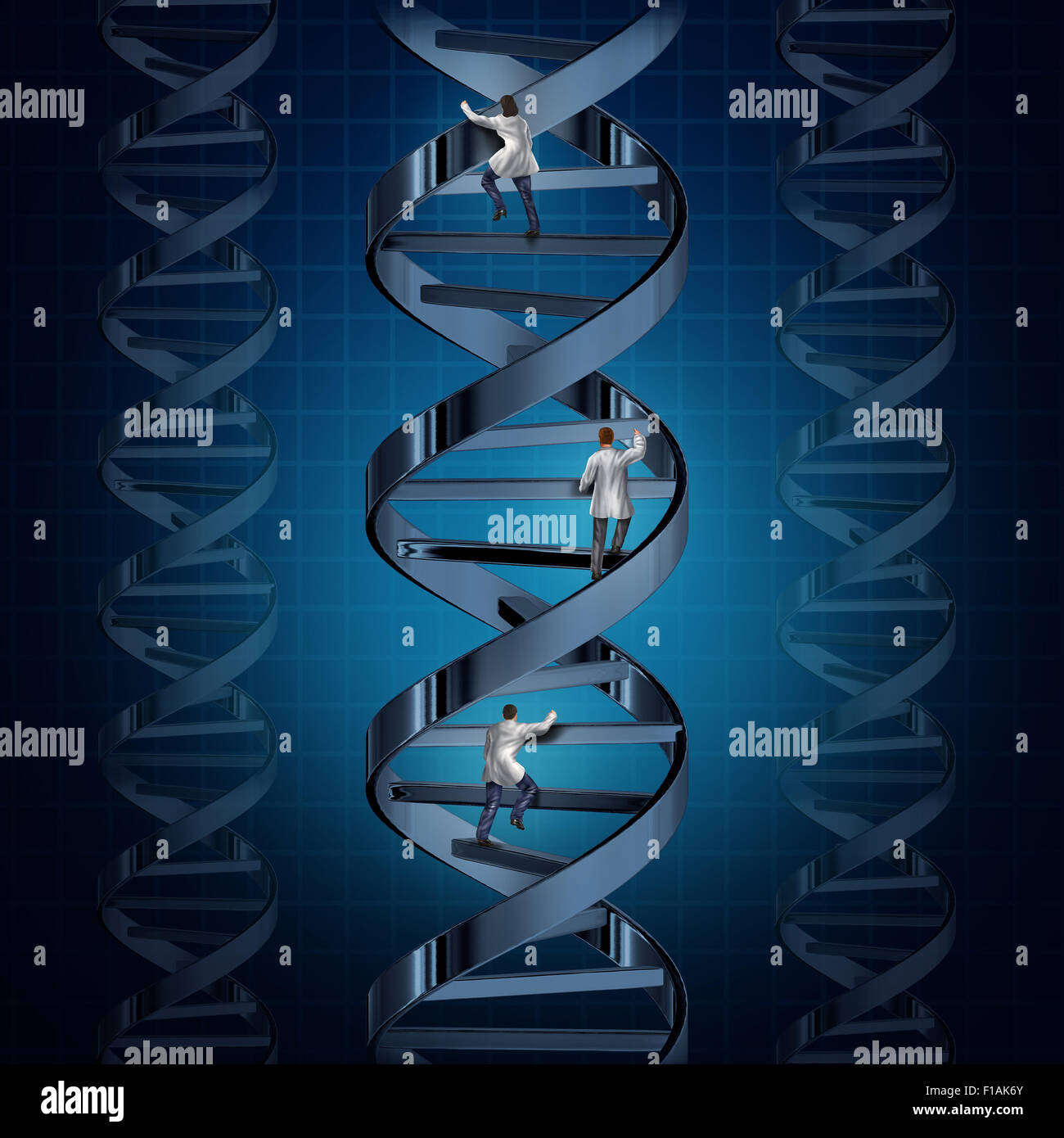 Genome medical research and genetic technology discoveries with a group of doctors or scientists climbing a DNA - Stock Image