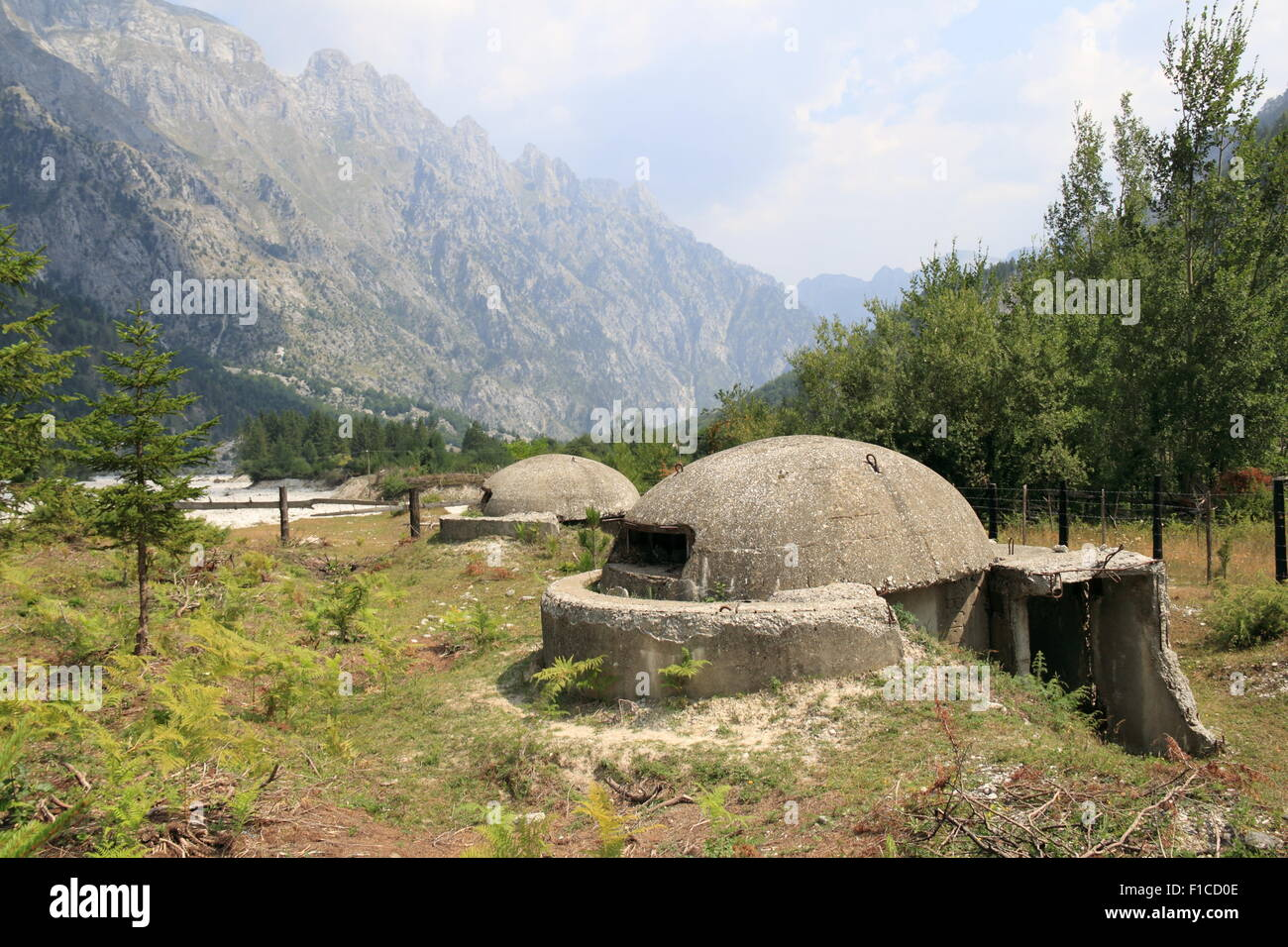 Cold War bunkers, Valbona, Valbona Valley National Park, Accursed Mountains, Albania, Balkans, Europe Stock Photo