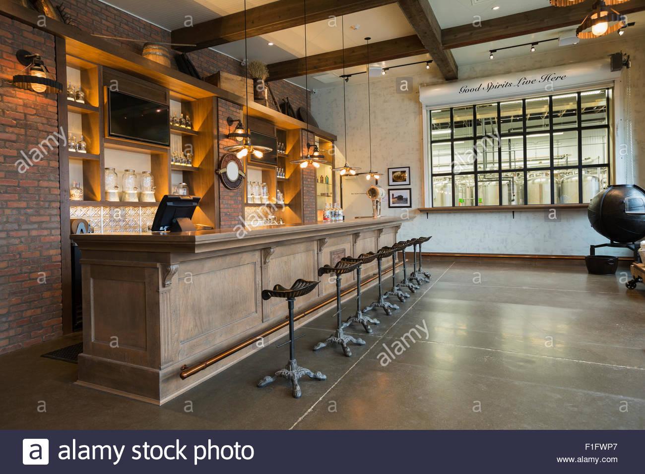 Empty distillery bar - Stock Image