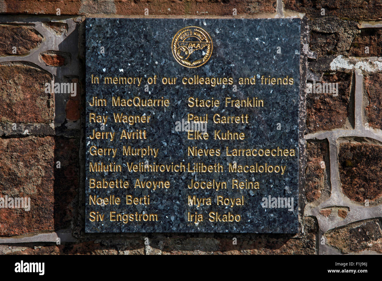 World Wings,Plaque,Scotland,worldwings,Lodge,Visitors,Centre,DLVC,Trust,Lockerbie,Memorial,Remembrance,Scotland,Victims,Pan,Am,PanAm,flight,103,bomb,bombing,terrorist,December,1988,attack,crash,dead,site,21/12/1988,270,victims,Scottish,Town,conspiracy,blast,Tundergarth,Room,garden,of,New York,GoTonySmith,Lodge,Visitors,Centre,DLVC,Trust,Lockerbie,Memorial,Scotland,Victims,Pan,Am,PanAm,flight,103,bomb,bombing,terrorist,December,1988,attack,crash,dead,site,21/12/1988,270,victims,Scottish,Town,conspiracy,blast,Tundergarth,Room,garden,of,Dryfesdale,Cemetery,news,Cultural,understanding,remembering,innocent,transatlantic,Frankfurt,Detroit,Libyan,Libya,Colonel Muammar Gaddafi,civil,case,compensation,terrorism,PA103,30,30years,years,Syracuse,University,SU,family,collections,Story,Archive,Archives,40,35,Timeline,saga,disaster,air,Scholars,program,programs,remembrance,Clipper Maid of the Seas,N739PA,Boeing,727,plane,aircraft,Scotland,UK,United Kingdom,GB,Great Britain,resting,place,Buy Pictures of,Buy Images Of,New York,al megrahi,30 Years