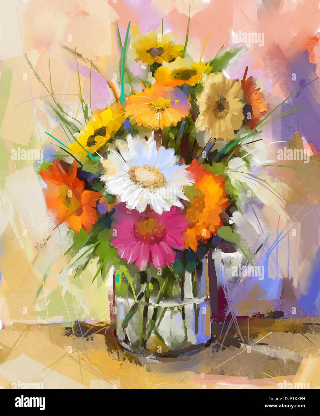 Oil painting still life gerbera flowers in Glass vase. White, red ...