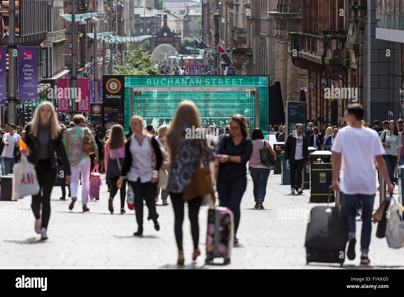 View looking South down Buchanan Street in Glasgow city centre, Scotland, UK - Stock Image