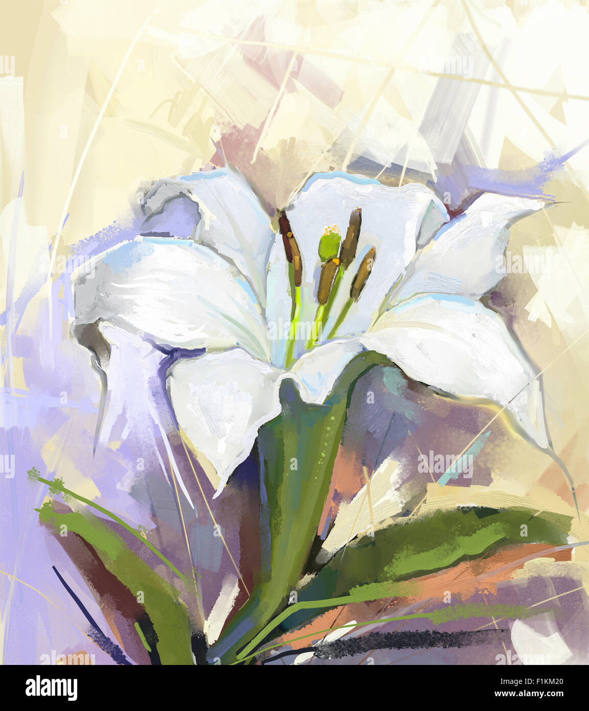Oil Painting White Lily Flowerflower Oil Painting Stock Photo