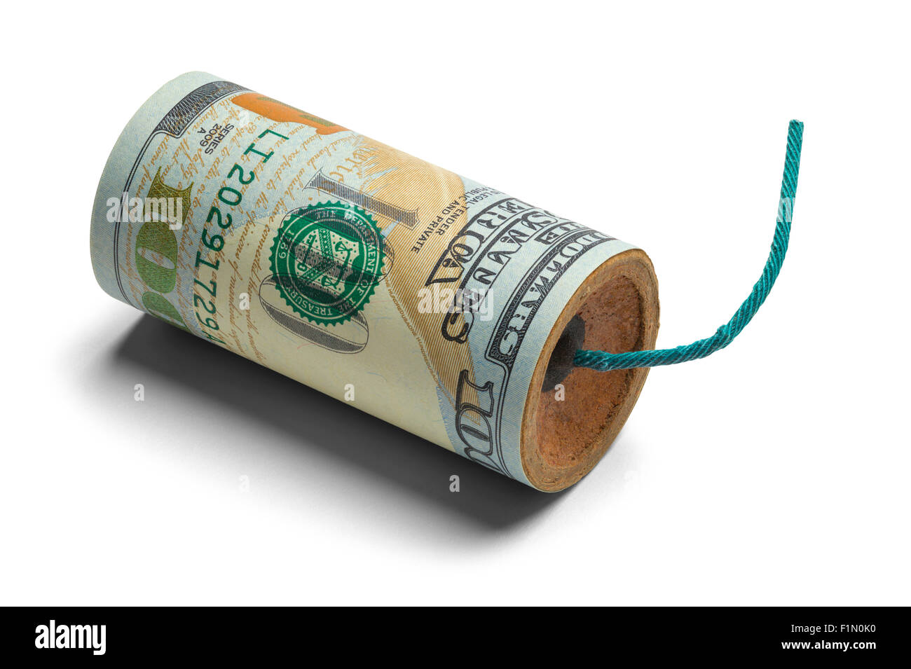 Hundred Dollar Bill Bomb with Fuse Isolated on White Background. - Stock Image