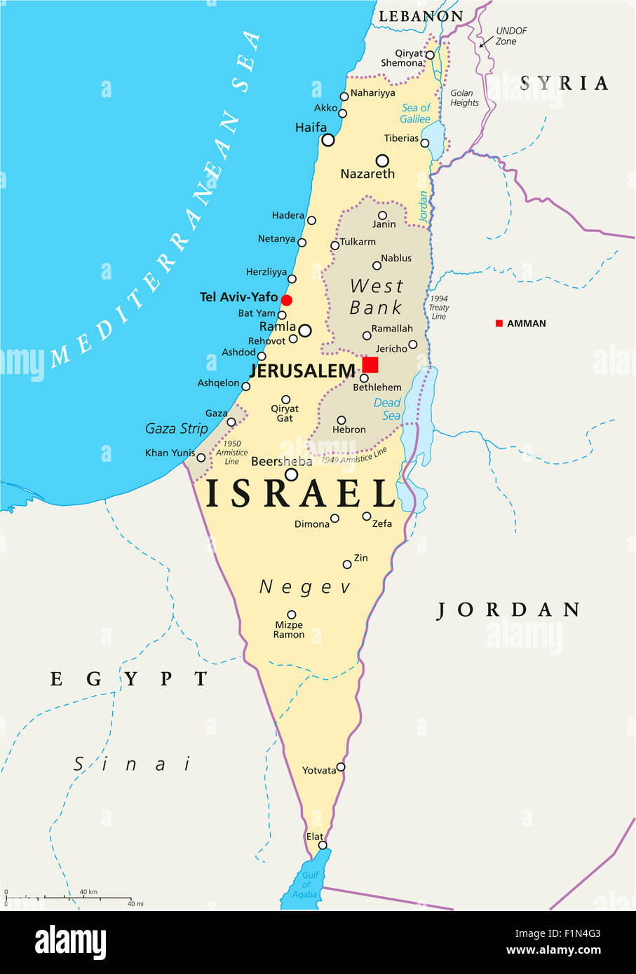 Israel political map with capital jerusalem national borders stock israel political map with capital jerusalem national borders important cities rivers and lakes english labeling and scaling gumiabroncs Choice Image