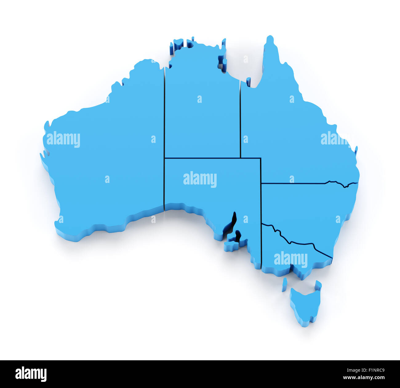 Map Of Australia By State.Extruded Map Of Australia With State Borders Stock Photo 87145865