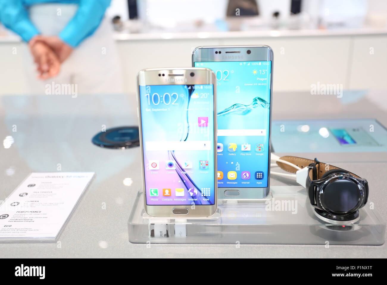Berlin, Germany, 5th September, 2015: Samsung presents the company' s recent smartphone Samsung Galaxy S6 edge+ - Stock Image