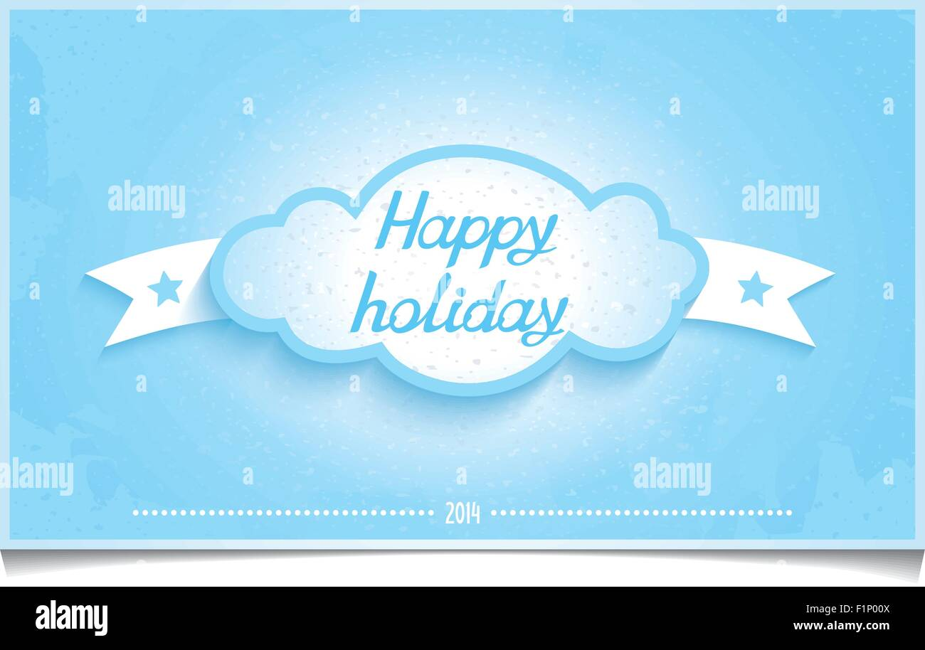 Winter Greeting Card With 3d Cloud And Lettering Happy Holidays On