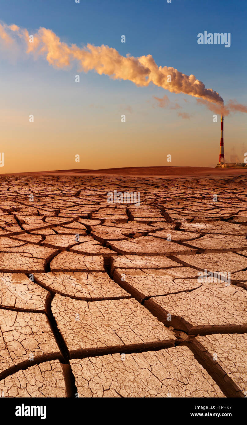 Industrial destruction, global warming concept - Stock Image