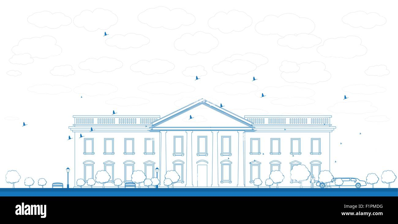outline white house washington dc with silhouette of man and car