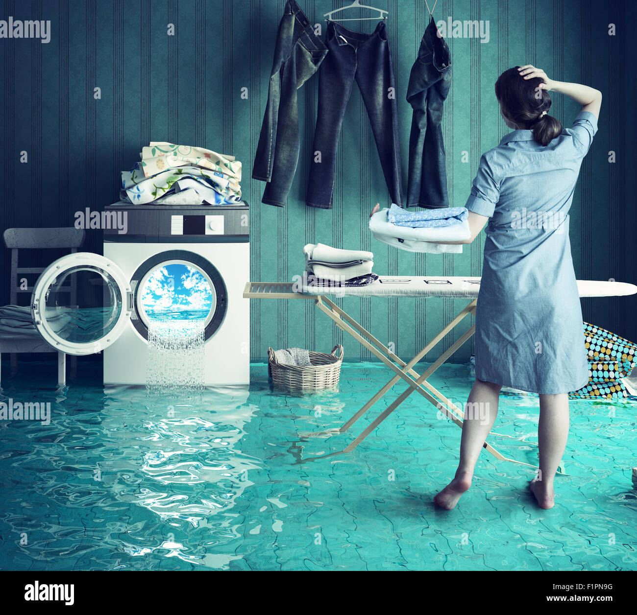 Housewife`s dreams. Creative concept. Photo combination - Stock Image