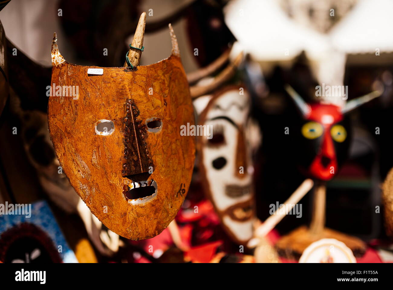 Traditional mask stall in Praca do Rossio, Lisbon, Portugal, Europe - Stock Image